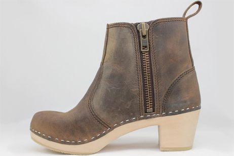 brown edith side zipper boot